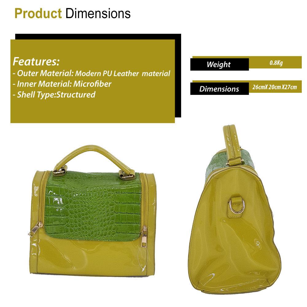 Yellow   green PU leather handbag